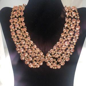 Oscar de la Renta pink crystal collar necklace